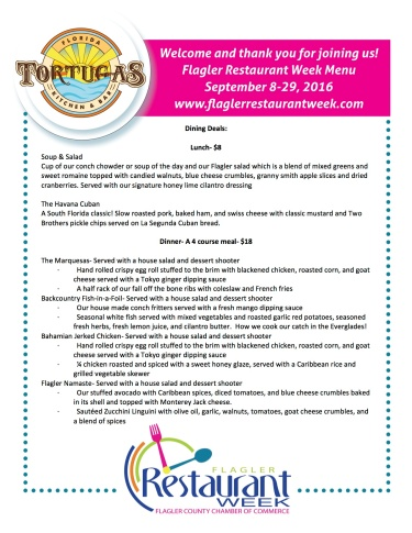 Tortugas menu